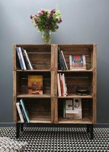 étagère en caisse en bois