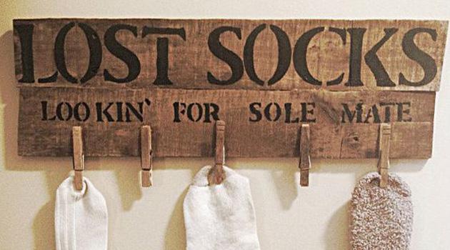 chaussettes perdues suspendues